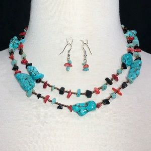 2 Row Turquoise Stone Red Black Bead Necklace Set